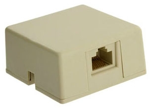 40278-SBI LEV PHONE SURF MOUNT BOX 8P8C IVORY