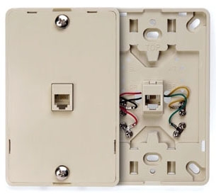 40214I LEV PHONE WALL MOUNT W/PLATE 6P4C IVORY
