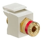 40833-BIR LEV F-TYPE SNAP IN GOLD/RED BINDING POST QUICKPORT IVORY