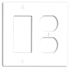 80746-W LEV 2G NYLON COMB PLATE W/1 DPLX RECEP & 1 DECORA WHITE