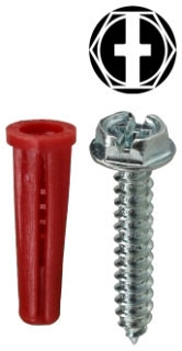 K6HX DOTTIE #10 ANCHOR KIT HEX/PHIL/SLOTTED WITH #22 RED ANCHOR 78100229621