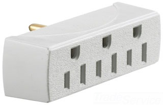 RT300W HUBBELL TAP, SINGLE TO 3 OUTLET, 15A 125V, WHITE 88377811243