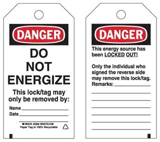 50258 BRADY B837 TAGS 5.75X3IN DO NOT ENERGIZE 25/PK