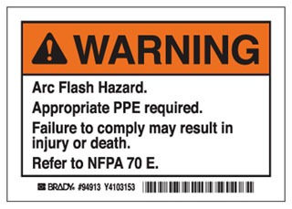 94913 EL-1 BDY ARC FLASH WARNING LABELS 3-1/2X5 5-LABELS TO A PACK