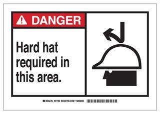 62794 BRADY B120 10X14 ANSI BLK,RED/WHT HARD HAT