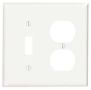 88005 LEV 2G COMB PLATE W/1 TOGGLE & 1 DPLX RECEP WHITE