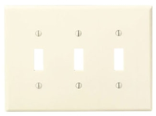 80511-I LEV 3G MIDWAY PLATE W/3 TOGGLE IVORY