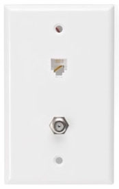 40259W LEV PHONE/CATV WALL MOUNT W/PLATE 6P4C WHITE