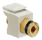 40833-BIE LEV F-TYPE SNAP IN GOLD/BLACK BINDING POST QUICKPORT IVORY