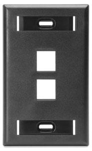 42080-2ES LEV 2-PORT EBONY FIELD CONF PLATE W/DESIGN
