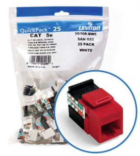 5G108-RC5 LEV CAT 5E SNAP-IN JACK 8P8C GIGAMAX RED
