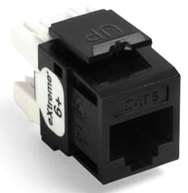 61110-RE6 LEV EXTREME CAT 6+ SNAP-IN JACK QUICKPORT BLACK