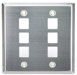 43080-2S6 LEV SS WALLPLATE DUAL GANG SIX PORT