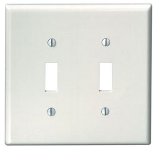 80509-W LEV 2G MIDWAY PLATE W/2 TOGGLE WHITE