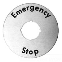 1SFA616915R1005 ABB E-STOP ROUND 70MM LEGEND PLATE 22MM HOLE YELLOW/BLACK TEXT PLASTIC