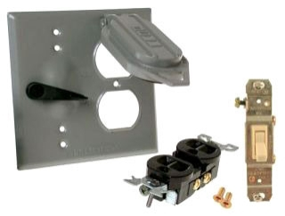 5166-0 RACO 2G WP COVER TOGGLE SP 15A / DUPLEX - GRY