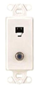 40659-W LEV PHONE/F CONN DECORA INSERT 6P4C WHITE