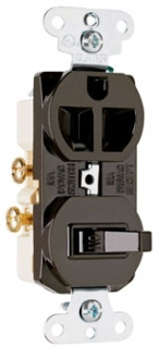 691 P&S BROWN SP COMBO SW & RCPT SIDED WIRED 15A 120/277V
