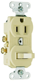 691I P&S IVORY SP COMBO SW & RCPT SIDE WIRED 15A 120/277V