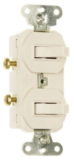 696W P&S WHITE COMBO 1-SP & 1-3WAY SW 15A120/277V NONGRD