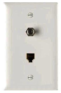 TPTELTVW P&S WHITE 1G COMBO PH&CATV JACK (4-COND.RJ11&F COAX)