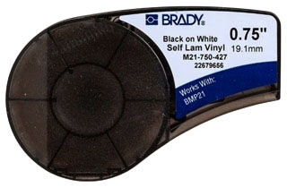 M21-750-427 BRADY .375 X .75 SELF LAMINATING VINYL BLACK ON WHITE
