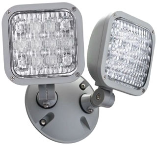 ELALEDTWPM12 LITHONIA GRAY, DIE-CAST ALUMINUM, OUTDOOR WEATHER PROOF REMOTE HEAD WITH TWIN ADJUSTABLE LED LAMP HEADS, 9.6V, 2.0W (CI# 210TW9)