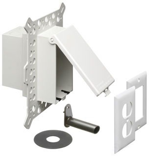 DBVM1W ARL WHITE RECESSED WP IN-USE COVER/BOX-STUCCO/WOOD SIDING.