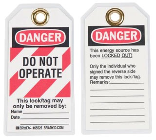 65525 BDY HEAVY DUTY POLYESTER TAGS - LOCKOUT TAGS
