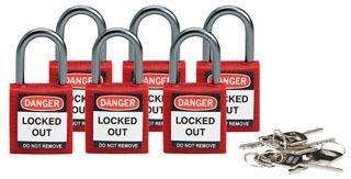 118926 BRADY BRADY COMPACT SAFETY PADLOCK RED KD 6/PK 75447366163
