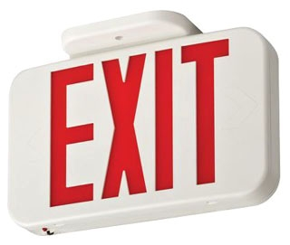 EXR-LED-EL-M6 LITHONIA WHITE THERMOPLASTIC LED EXIT, RED SINGLE FACE WITH EXTRA FACE PLATE AND COLOR PANEL, NI-CAD BATTERY BACK-UP (CI# 210LC6)