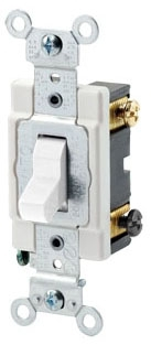 CSB320-W LEV 20A/120-277V 3WAY SWITCH COMM GRADE BACK/SIDE WIRED WHITE