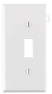 PSE1W LEV TOGGLE SWITCH WHT END PANEL SECTIONAL PLATE