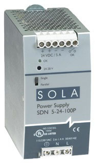 SDN5-24-100P SOLA 5A DIN RAIL MT POWER SUPPLY:115/230VAC-24VDC