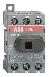 OT16F3 ABB 16A 3 POLE DISCONNECT SWT UL508 NON FUSED H1 RPLS OT16E3