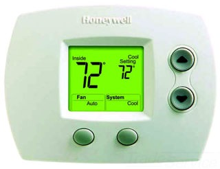 TH5110D1006/U HONEYWEL FOCUSPRO 5000 NON-PROGRAMMABLE DIGITAL THERMOSTATS, BACKLIT DISPLAY, DUAL POWERED (24VAC AND/OR BATTERY). UP TO 1H/1C. 1.95 SQ. IN. DISPLAY