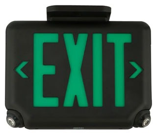 EVCUGW DUALLITE ARCHITECTURAL LED COMBINATION EXIT/EMERGENCY LIGHT, UNIVERSAL FACE, GREEN LETTER COLOR, WHITE FINISH