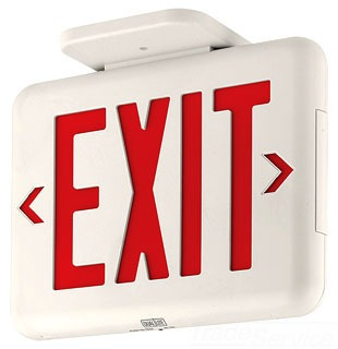 EVEURWEI DUALLITE EX1 LED EXIT SIGN,UNIVERSAL FACE, RED LETTERS, WHITE HOUSING,EMERGENCY OPERATION, SELF-DIAGNOSTICS