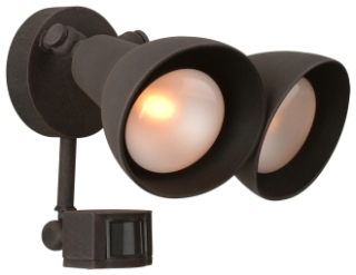 Z402PM-07 CRFTMADE 100WAT RUST FINISH SHADED FLOOD LIGHT WITH PHOTO CELL AND MOTION DETECTOR