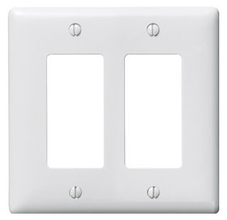NP262W HUBBELL WALLPLATE, 2-G, 2) RECT, WH