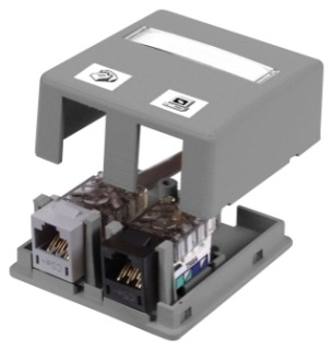 ISB2GY HUBBELL HOUSING, SURFACE MOUNT,2 PORT,GY