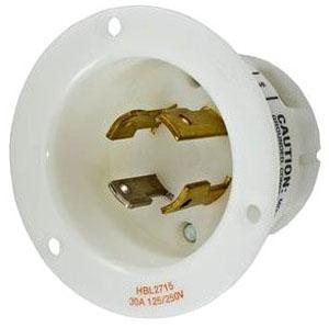 HBL2715 HUB 3P 4W 125/250V 30A SHROUDED RECEPTACLE