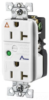 IG5362WSA HUBBELL 20A125V WHITE IG/SURGE DPLX RCPT 5-20R 78358506086