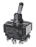SS212A-BG SEL TOGGLE SWITCH 3PDT ON/OFF/ON 15AMP@125VAC 10AMP@250VAC SCRW TERMLS