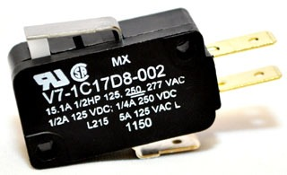 V7-1C17D8-002 MICROSWITCH BASIC, MINIATURE, SPDT, STRAIGHT LEVER ACTUARTOR, SILVER CONTACTS 70118706