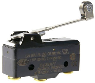 BA-2RV22-A2-BG MIC BASIC SWITCH 20A/125Vac; SPDT; STAINLESS STEEL ROLLER/LEVER; 6-OZ OPERATION FORCE TERMINAL SCREW AND CUP WASHER J1 1 66119172812