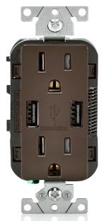 T5632-B LEV 15A/125V DECORA DPLX RECEP W/ USB TAMP RES BROWN