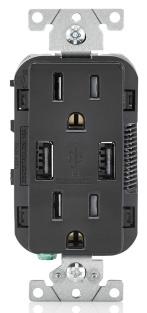 T5632-E LEV 15A/125V DECORA DPLX RECEP W/ USB TAMP RES BLACK