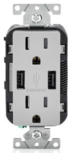 T5632-G LEV 15A/125V DECORA DPLX RECEP W/ USB TAMP RES GRAY