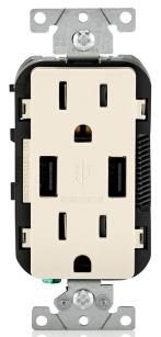 T5632-T LEV 15A/125V DECORA DPLX RECEP W/ USB TAMP RES LT ALMOND